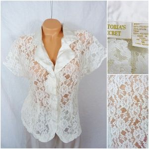 Victorias Secret Medium Floral Lace Shirt Top